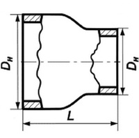 Переход 42,4х2,6-21,3х1,8 стальной концентрический ГОСТ 17378