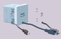 Источник питания USB, 5VDC, 45х45мм, белый