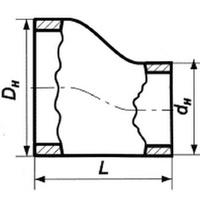 Переход эксцентрический нержавеющий 57х3-32х3 12х18н10т ГОСТ 17378