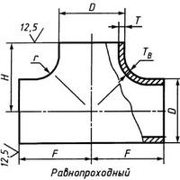 Тройник 219х6 нержавеющий 12х18н10т равнопроходной