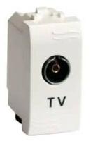 Розетка TV с согл. сопротивлением, белая , 1модуль