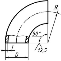 Отвод 60,3х2,9 (Ду-60) стальной 90 градусов 1 исп ГОСТ 17375
