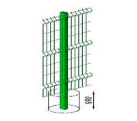 Столб L=2,5м 60*40 ПП RAL6005 с пластиковой крышкой и креплением