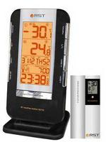 Термометр цифровой (радиодатч.,календ.,будил., часы,термом.,индикац.сост.батареи)настол.уст.цвет черный прорезин.корп.
